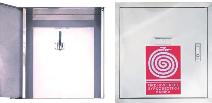 Ανοξείδωτη Πυροσβεστική Φωλιά με Γάντζο. Άνοιγμα Πόρτας με την Πίεση Ανοξείδωτου Κομβίου. ΔΙΑΣΤΑΣΕΙΣ (ύψος x πλάτος x βάθος): 500 x 470 x 140 mm INOX - Γυαλιστερή 304